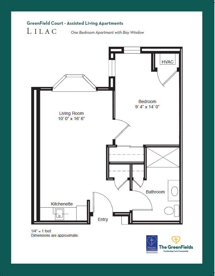 GreenField Court One Bedroom Floor Plan - Lilac