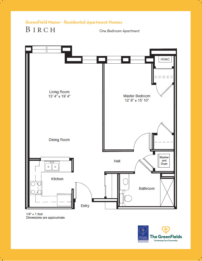 GreenField Manor One Bedroom Floor Plan - Birch