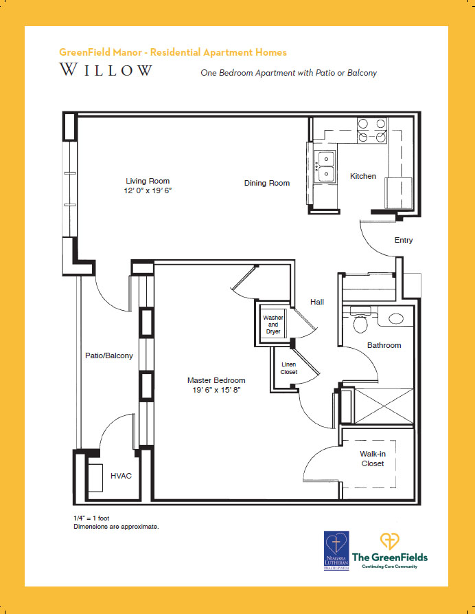 GreenField Manor One Bedroom Floor Plan - Willow